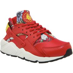 Nike Air Huarache ($150) ❤ liked on Polyvore featuring shoes, red aloha print w, trainers, unisex sports, leather shoes, real leather shoes, genuine leather shoes, pattern leather shoes and sporting shoes