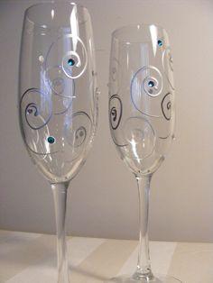 bride and groom wedding champagne toasting flutes with aqua teal blue Swarovski crystals via Etsy