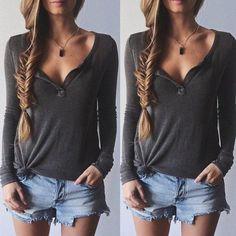Shirts   Long Sleeve Lightweight Knit Blouse