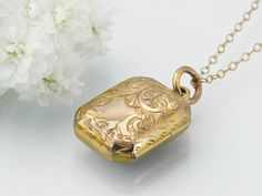 Victorian Solid Gold Locket / Antique Locket / Small Rectangle 9ct Gold Engraved / Hallmarked Gold Wedding Locket - 18 Inch Chain Included