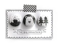 Set of 3 pinback buttons The Big Mountain by okapiillustration, $6.00