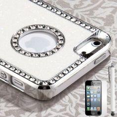 Pandamimi iphone 5 case - Deluxe White Diamond Rhinestone Glitter Bling Chrome Hard Case Cover for Apple iPhone 5 5G   Screen Protector   Stylus,$6.65