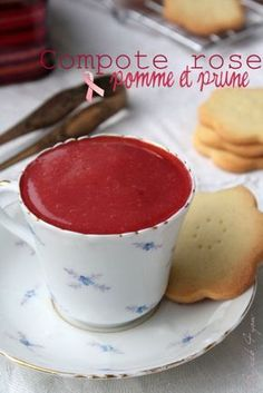 Compote rose pommes et prunes {octobre rose} Nom Nom, Pudding, Fruit, Desserts, Information, Food, Cancer, Ice, Kitchens