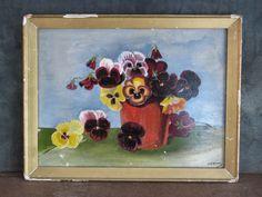 Antique Victorian FOLK ART Flower PANSY PAINTING still life signed vtg American #FolkArt