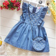 Sewing for kids summer for girls ideas - Babykleidung Baby Girl Frocks, Frocks For Girls, Kids Frocks, Dresses Kids Girl, Little Girl Outfits, Kids Outfits, Summer Dresses For Girls, Girls Frock Design, Baby Dress Design