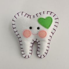 Tooth Fairy Pillow - Green Heart with Purple. $12.00, via Etsy.
