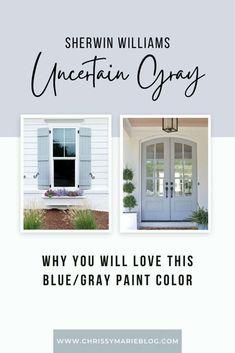 Exterior Gray Paint, Exterior Paint Colors For House, Paint Colors For Home, Exterior Colors, Blue Gray Paint Colors, House Painting, Patio, Chrissy Marie, House Front