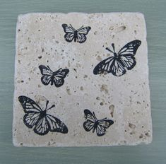 Butterflies & Other Garden Inspired Travertine Marble Style Coasters by CircleOakTreasures on Etsy