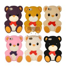 Cute 3D Teddy Bear Soft Silicone Funny Case Cover for iPhone 4/4S/5 - iPhone 5 Cases