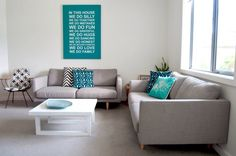 Pops of turquoise really lift this lounge from boring neutral to fun and contemporary #houseoffraser
