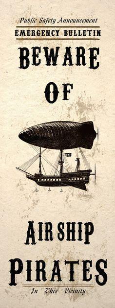 Steampunk Art Print Wall Poster Beware Airship Pirates #steampunk