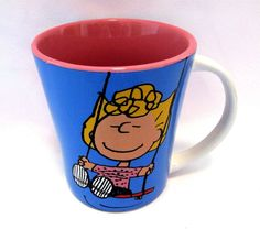 Peanuts Coffee Cup Sally On Swing Stoneware 15 oz Life Goes On