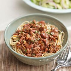 Need a new healthy chili recipe to try? Cincinnati has a unique spin on chili—they serve it over spaghetti. Typically the chili is just made with meat, no beans, but we couldn't resist adding beans to Healthy Cooking, Cooking Recipes, Healthy Recipes, Cooking Games, Diabetic Recipes, Eating Healthy, Healthy Foods, Bean Recipes, Chili Recipes