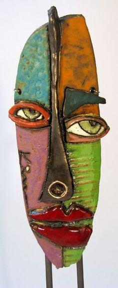 Cantrell Kimmy Kimmy Cantrell A part of African inspiration, simple material, easy adaptations for the class, color, in short everything I like! Ideal for work around the mask or … Sculptures Céramiques, Art Sculpture, Abstract Sculpture, Photo Sculpture, Abstract Faces, Abstract Portrait, Kimmy Cantrell, Ceramic Mask, Art Africain