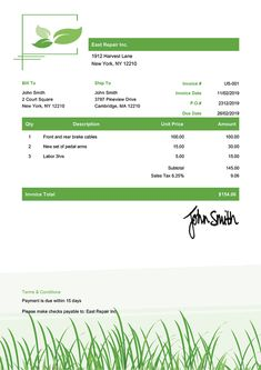 Invoice Template Us Green Grass Free Receipt Template, Payroll Template, Invoice Design Template, Design Templates, Success Poster, Invoice Sent, Estimate Template, Credit Card Readers, Images Gif