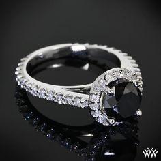 Black Diamond Halo Engagement Ring by Whiteflash