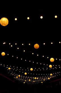 Lanterns and festoon lights make a great canopy or marquee light – Style Me Pretty