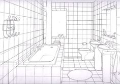 simple bathrooms one point perspective - Google Search