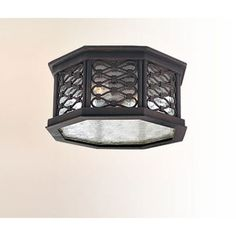 Los Olivos Old Iron Two-Light Fluorescent Outdoor Flush Mount with Amber Mist Glass