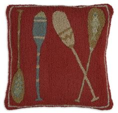 Paddle wool hooked pillow