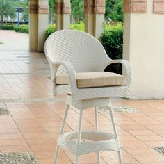 Bahia Wicker Swivel Barstool 30 in - Wicker Barstool: x x Fabric Options Included Outdoor Chairs, Outdoor Furniture, Outdoor Decor, Lowes Home Improvements, Decorative Items, Bar Stools, Wicker, Flooring, Home Decor