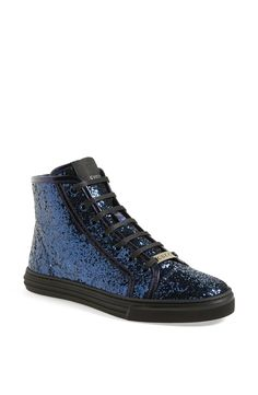 Pairing these blue glitter high top sneakers with skinny jeans.