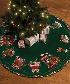 Bucilla Candy Express Tree Skirt Felt Applique Kit 43 Round for sale online Christmas Tree Train, Christmas Stocking Kits, Christmas Skirt, Felt Christmas Stockings, Xmas Tree, Christmas Crafts, Christmas Decorations, Christmas Ornaments, Holiday Decor