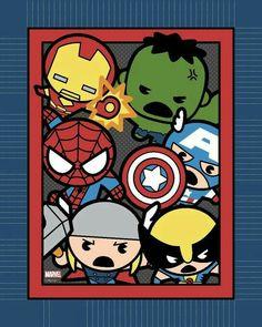 Licensed No Sew Throw- Marvel Kawaii, , hi-res Baby Avengers, Baby Marvel, Chibi Marvel, Marvel Art, Marvel Dc Comics, Marvel Heroes, Marvel Avengers, Baby Wunder, Marvel Nursery