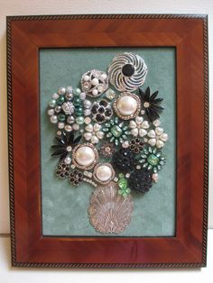Jeweled Framed Jewelry Flower Bouquet Mint Green Black Silver Vintage by audreymivey on Etsy