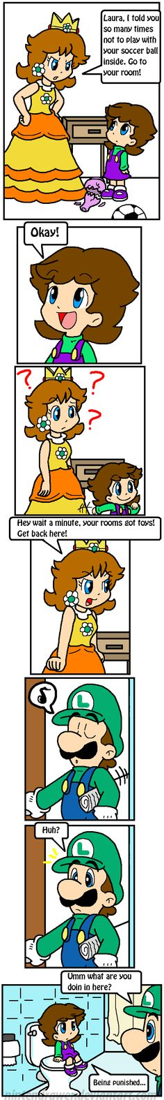 daisy punishes laura for playing soccer in the house by making her sit in the bathroom. Mario Funny, Mario Memes, Mario Bros., Mario And Luigi, Luigi And Daisy, Mario Comics, Super Mario Art, Family Fun Games, Princess Daisy