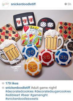 Poker cards casino beer cookies