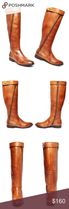 Steve Madden Leather Riding Boots Classic flat riding boots with an extra twist. Decorative outside zipper and wrap-around strap at top of boot with snap closure for a sleek modern look. Genuine natural leather & perfect cognac color to match just about anything! This is a fall wardrobe essential! No trades! PRICE IS FIRM !   1 inch heel height 15 inch shaft circumference 16 inch shaft height Functional inside zipper; decorative outside zipper Steve Madden Shoes Combat & Moto Boots