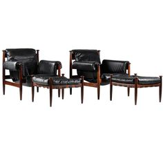 Pair of Scandinavian Leather and Rosewood Lounge Chairs by Eric Merthen for Ire   From a unique collection of antique and modern lounge chairs at https://www.1stdibs.com/furniture/seating/lounge-chairs/