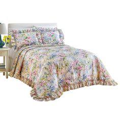Amazon.com: Floral Gardenscape Plisse Bedspread, Multi, Queen: Home &…