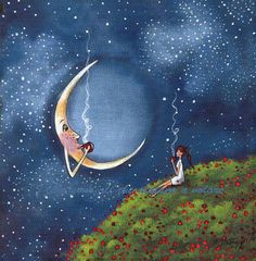 Bending The Moons Ear, a small Friends Moon Coffee Break Poppy Field Spring PRINT by Deborah Gregg Sun Moon Stars, Sun And Stars, Illustrations, Illustration Art, Moon Pictures, Good Night Moon, Moon Magic, Beautiful Moon, Moon Art