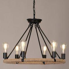 Copula Rustic Style Hemp Rope & Metal 1-Tier/2-Tier Round Chandelier Pendant Light with Exposed Bulb
