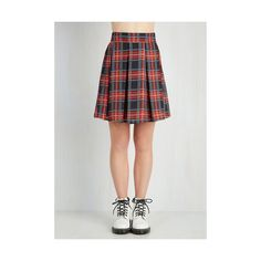 Vintage Inspired Short Length Park Movie Marathon Skirt ($40) ❤ liked on Polyvore featuring skirts, mini skirts, apparel, bottoms, red, red flare skirt, red plaid skirt, pleated mini skirt, plaid skirt and short mini skirts