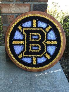 "Custom ordered board - Boston Bruins - measures 15"" round. #stringart  #bostonbruins Facebook.com/strungbyshawna Hockey Stuff, Boston Bruins, String Art, Christmas Crafts, Diy Crafts, Facebook, Create, Board, How To Make"