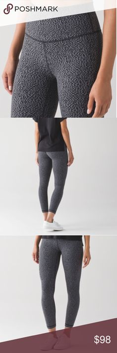 """Lululemon High Times Pant Digi Pixie Color is Digi Pixie Black Pitch Grey. Fabric is Luon. released October 2016. High rise, 7/8 length. Sweat wicking, 4 way Stretch, cottony soft handfeel, quick recovery, naturally breathable. Added Lycra for Stretch, great shape retention, long lasting comfort. Inseam 25.5"""" unstretched. lululemon athletica Pants Leggings"""