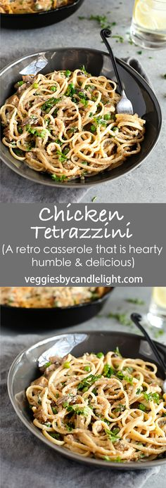 Chicken Tetrazzini - A retro casserole that's hearty, humble, & delicious. This version lends a modern spin with truffle butter, white wine, & greek yogurt