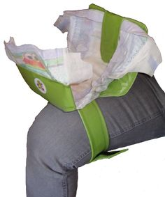 Green portable standing diaper changing pad by SwiftySnap on Etsy, $59.95