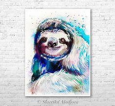 Sloth watercolor painting print by Slaveika Aladjova animal