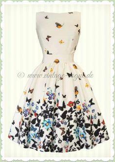 Vintage A-Linie Kleid mit Schmetterlingen in weiß