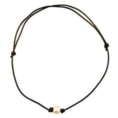 Adjustable One Single Freshwater Pearl Choker Leather Necklace with Genuine Leather Cord for Girls-Black White Leather Pearl Necklace, Single Pearl Necklace, Pearl Choker Necklace, Black Necklace, Freshwater Pearl Necklaces, Leather Jewelry, Pearl Jewelry, Leather Cord, Cute Jewelry