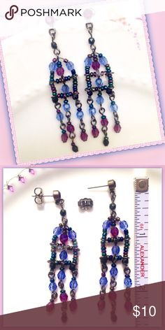 Pretty Beaded Dangle Chandelier Earrings Multi-colored beaded chandelier dangle earrings consisting of a mixture of aurora borealis colored bicone and seed beads. Post has a raspberry colored rhinestone with a friction back earring closure. Jewelry Earrings