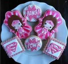 Pink wonder woman cookies