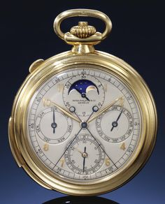 **Patek Philippe, YELLOW GOLD PERPETUAL CALENDAR SPLIT SECONDS CHRONOGRAPH POCKET WATCH WITH MOON-PHASES