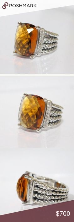 David Yurman Diamond + Citrine Wheaton Ring David Yurman Diamond + Citrine Wheaton Ring • Beautiful Citrine Gemstone set in Sterling silver with pave diamonds. Size 6. Comes with certificate of authenticity. This ring is the larger Women's Wheaton Ring. I have a petite Wheaton available in 6.5 in a separate listing. David Yurman Jewelry Rings