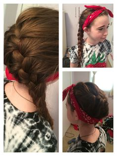 A bandana and a side French Braid is great for summer time!!