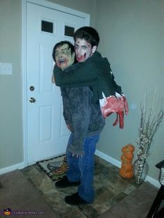 Zombie Carryng a Half Zombie!: This costume was made for a Zombie walk in Fayetteville, NC Zombie Halloween Costumes, Creepy Costumes, Zombie Party, Halloween Projects, Homemade Costumes, Homemade Halloween, Holidays Halloween, Halloween Kids, Halloween Scarecrow